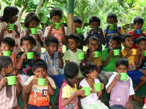 group of children drinking milk