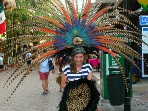 woman in feather headress