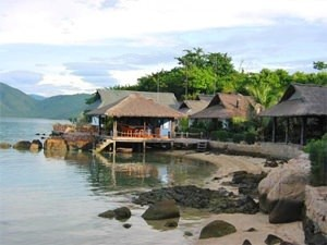 Beach bungalows along the shore line of Palm Island in Vietnam