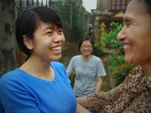 local women smiling