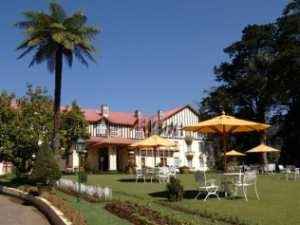 Nuwara Eliya view of hotel from sitting area in garden