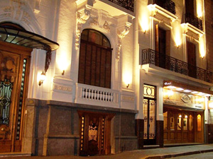 Argentina outside view of hotel lit up at night