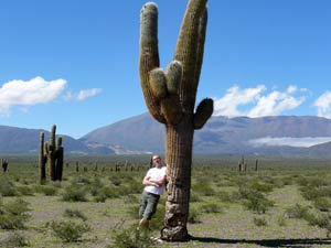 Customer leaning on a cactus