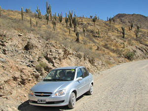 Car parked on road in Argentina