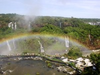 Rainbow over the waterfall