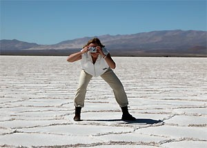 Customer on the salt plains taking a picture