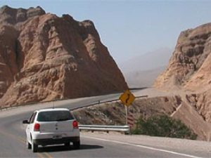 car driving along road in argentina