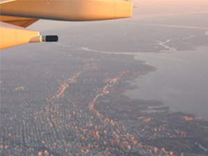 View of a city from the plane window