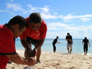 Releasing turtles in Borneo