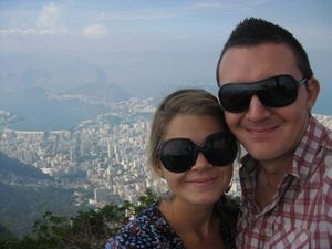 Happy couple with Rio city in the background in Brazil