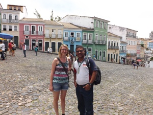 Young woman with guide in Salvador, Brazil