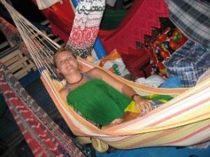 Brazil travel specialist Ceri laying in a hammock