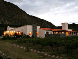 Cafayate hotel from outside at base of mountain