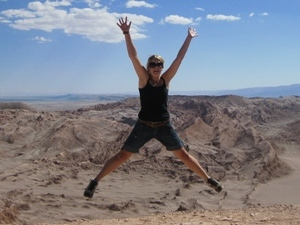 Woman jumping in the desert