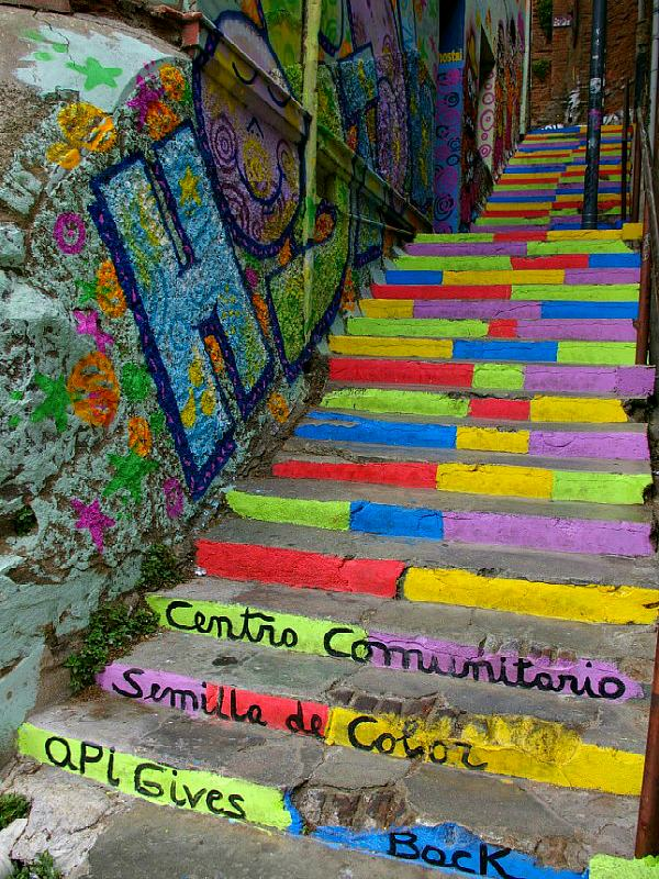 colorful painted steps in chile