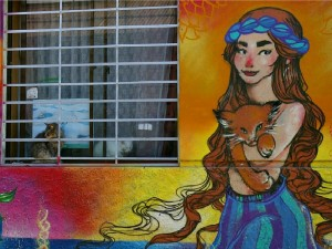colorful graffiti wall art of woman holding cat in chile