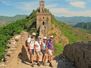 Group of travellers trekking the Great China Wall