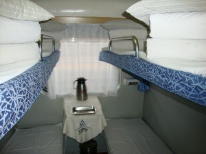 Hard sleeper beds on the traiin