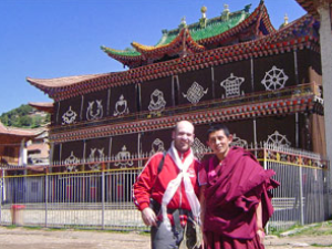 tourist with his guide in china