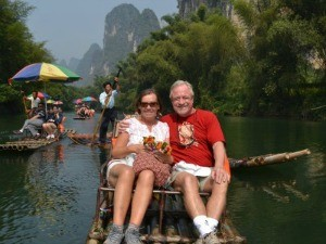 Customers sitting on bamboo raft