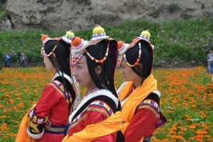 Local women in traditional dress