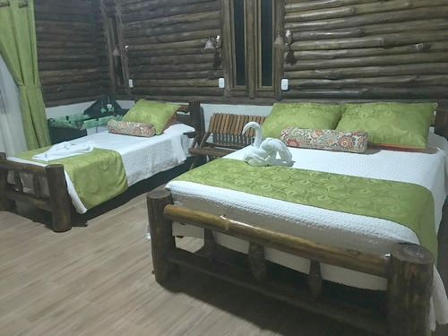 Arftistic green bedrooms in Oasis ecolodge in Costa Rica