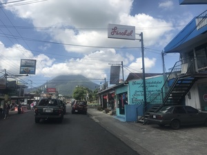 Fairly quiet Nuevo town with La Fortuna Arenal volcano standing in the background