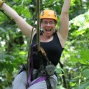woman zip-lining in Costa Rica