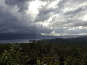 Monteverde view over mountains and lake on excursion in Costa Rica
