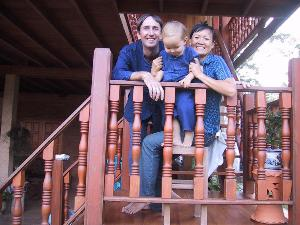 Smiling family at local homestay