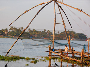 India man fishing in river