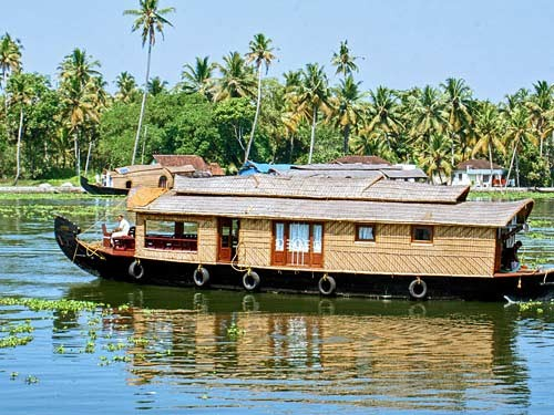 India houseboat in river