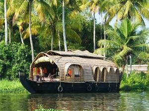 India woven houseboat on river with palm trees