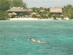 Person snorkeling in the sea in Gili Meno Indonesia