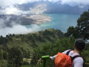 Customer descending Mount Rinjani in Indonesia