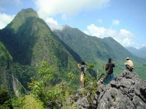 hiking in the mountains of laos