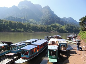 Boats on the river in Laos