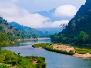 Valley and river in laos