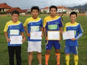 football team with certificates