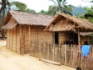 thatched huts in laos