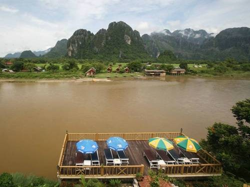 View of Vang Vieng's karst mountains from the hotel
