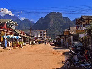 small village with shops in laos