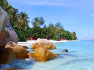 Immaculate beach with blue sea and boulders