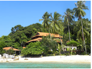 View of accommodation from the beach