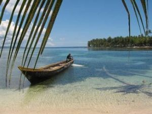 View across sandy beaches of San Blas Islands