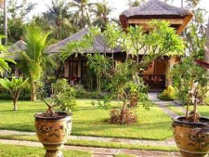 beach bungalow with plants