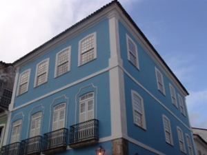 Salvador exterior of blue and white painted building
