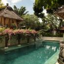 Sanur hotel swimming pool with hanging flowers