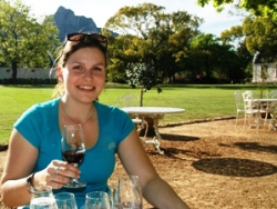 woman drinking red wine in south africa
