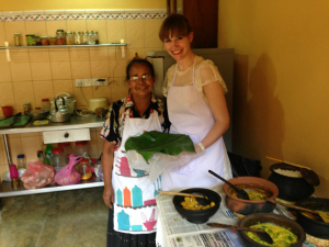 two ladies cooking homemade curry in Sri Lanka